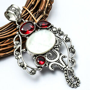 """Radiant Mother Of Pearl, Red Garnet Handmade Jewelry Pendant 3.24"""" LL"""