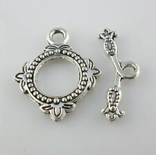 8pcs Antique Silver Flower Clasps Interface Toggle Connectors Jewelry Findings