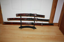 "3pc Red/Black 35"" Samurai Sword Set  Katana, Wakizashi, Tanto & Stand  Free Ship"