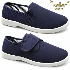 New Dr Keller Mens Canvas Shoes Wide Fit Deck Pumps Padded Plimsolls Espadrilles
