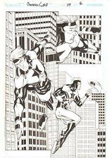 Booster Gold #39 p.6 - Great BG & Skeets Flying Splash 2010 art by Chris Batista Comic Art