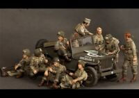 "1/35 ""Allied Soldiers"" Resin Model Figures Unassambled Unpainted (No Jeep)"