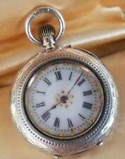 More details for antique  solid silver cased ladies pocket watch enamel dial gilt accents  0.935