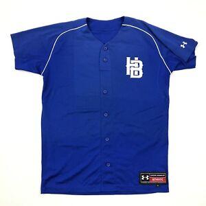 Under Armour Baseball Jersey Adult Medium Oversized Loose Fit Blue V-Neck Vented