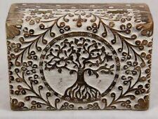18x13CM TREE OF LIFE BOHO CARVED SHEESHAM WOOD BOX JEWELLERY TRINKET