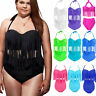 Plus Size Women Tassel Bikini Set Push Up High Waist Swimwear Swimsuit Beachwear