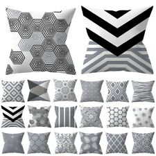 "18"" Gray Geometric Polyester Throw Cushion Cover Square Pillow Case Home Decor"