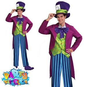 Adult Mens Mad Hatter Costume Wonderland Fancy Dress Book Week Day Outfit
