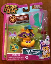 National Geographic Animal Jam Posh Raccoon and Pet Kitty Figures New