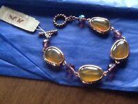 2028 Bracelet Gold Tone Purple/ Amber Beads