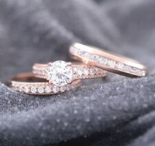 14k Rose Gold Over His And Her Wedding Band Engagement Diamond Bridal Ring Set