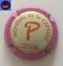 """Capsule de Champagne Mondial de la Capsule 2016 Lettre """" P """" Ctr Rose n°25a !!!!"""