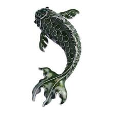 Vintage Crystal Green Fish Woman Brooch Pin Rhinestone Animal Silver Tone
