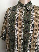 REYN SPOONER HAWAIIAN SHIRT ~ Tiki/Floral Print ~ Earth Tones ~ Large ~ Aloha