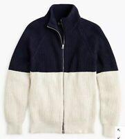 NWT jcrew cotton funnelneck zipup sweater jacket $98 colorblock navy XL k4057