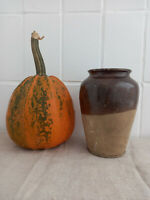 Antique Storage Crock Jar Brown Glazed Stoneware Ceramic Pottery Food storage
