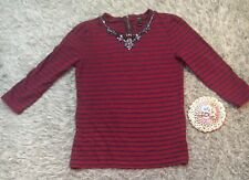 J.Crew Striped Necklace Tee Top XSJeweled Red Blue Bling jcrew Shirt