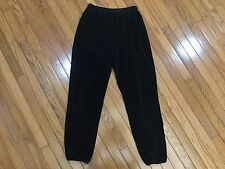 SONIA RYKIEL Black Velour Pants Elastic Waist Size M Made in France