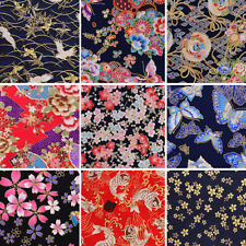 25CM Cherry Blossom Fabric Japan Bronzing Cotton Sewing Patchwork Quilting DIY