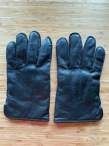 Coach Black Leather 100% Cashmere Lined Gloves, Men's Size Medium (M)!