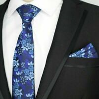 Tie and Pocket Square Set Blue Flower Patterned Handmade 100% Silk