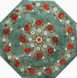 "Green Marble Patio Table Semi Precious Stone Inlaid Work Coffee Table Top  21"""