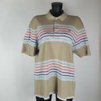 Lacoste Sz XL Polo Shirt Mens Tan Striped Short Sleeve Gator Chest Logo S/S NICE