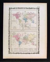1862 Johnson Map - World Animal Kingdom Birds - Productive Industry Agriculture