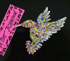Betsey Johnson multicolor Crystal Enamel Hummingbird Bird Charm Women Brooch Pin