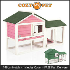 Rabbit Hutch & Cover 148cm by Cozy Pet Pink Guinea Pig Hutches Run Ferret Runs