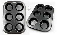 2 Pack Bun Case Baking Tray 12 Cup Cake Tin Non-Stick Metal Oven Bakeware Muffin