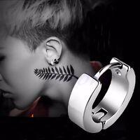 Punk Men's Steel Ring Clip On Earrings Ear Studs Accessories Silver