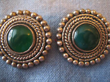 green stones, Mexico and signed Tv-11 Large Vtg Sterling clip earrings w bright