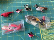 lot 7 vintage Bird Ornaments Wired Feet Feathers Christmas turkey hummingbirds