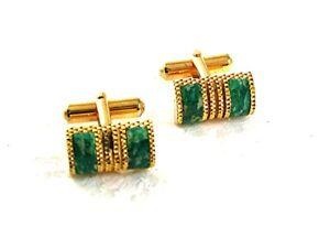 Vintage Goldtone & Green Cufflinks 8917