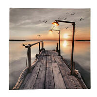 New LED Light Up HD Seashore Jetty Scene Wall Home Decor Canvas Picture Gift Art
