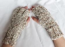 Hand Knit Fingerless Gloves- Wrist Warmers-Texting Gloves-Vanilla Twist