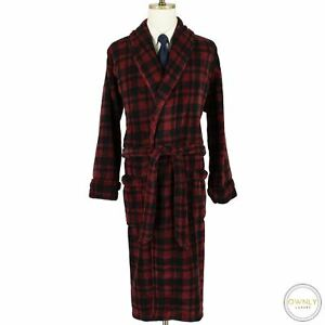 CURRENT Polo Ralph Lauren Red Black Polyester Plaid Shawl Belted Robe One Size