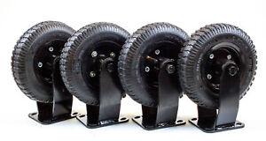8 Inch Rigid Nylon Pneumatic Plate Caster Wheel - 860lb Capacity | SET OF 4