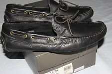$207 REISS Wigmore Tassle Driving Mocassin Shoe 43 10 pebbled leather black