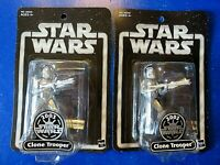 LOT OF 2 ~ 2003 STAR WARS SILVER CLONE TROOPER ACTION FIGURES ~ Hasbro ~ NEW