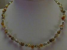 Collier* Halskette* Botswana Achat + Glasperlen*grau-braun* Edelstein Kette*C226