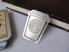 2 PCS Lot/Set !!! RARE Silver Metal Starbucks Coffee Cup Clip Bookmarks