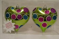2 Chartruce Glitter Dot Heart Ornaments Christmas Valentines Day Decorations