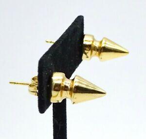 """Goldtone Spike Studs Pierced Earrings Rocker Punk Retro 9/16"""""""