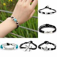 Fashion Handmade Women Turquoise Leather Braided Bracelet Bangle Jewelry Gift