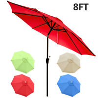 8ft Patio Umbrella Outdoor Table Market Waterproof Top Canopy Cover 8 Ribs
