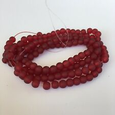 145X Maroon Red Frosted Glass Beads - 6mm Round Transparent Bead - 82cm Strand