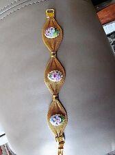 """gold-tone  Enamel Art Deco Floral Mesh Bracelet 7"""""""