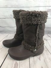 Crocs Nadia Womens Size 8 Brown Faux Fur Winter Boots i58